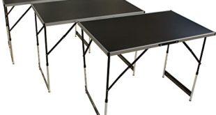 Mehrzwecktisch 3-teilig mit höhenverstellbaren Füßen, Arbeitstisch und Tapeziertisch mit 30kg Tragkraft pro Platte (100 x 60 cm), klappbarer Flohmarkttisch mit Tragegriff